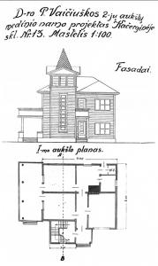 Prano Vaiciuškos gyvenamojo namo projektas Kačerginėje. KAA, f. 17, ap.1, b. 99